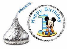 216 BABY MICKEY MOUSE 1ST BIRTHDAY PARTY FAVORS HERSHEY KISS LABELS - Happy bday