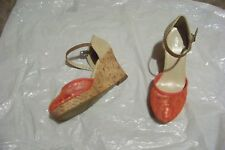 womens apt 9 mimosa coral ankle strap wedge heels shoes size 6 1/2