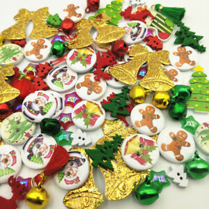 100 MIXED CHRISTMAS - BUTTONS - FLATBACKS - BELLS - EMBELLISHMENTS - CARDMAKING