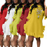 Women's Casual Solid Color Pleated Irregular Ruffle O-Neck Beach Holiday Dress