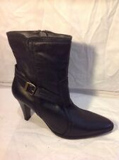 Fiore Leather Black Ankle Leather Boots Size 7