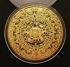 Aztec Mayan Calendar Gold Plated Commemorative Coin Collection Gift