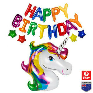 Giant Huge UNICORN FOIL Balloon Kids Birthday Party Decorations