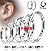 "PAIR Hinge Seamless Hoop Earrings Stainless Steel 16g 3/8""- 13/16"" (10mm - 20mm)"