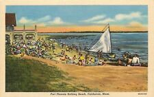 Fairhaven Massachusetts~Fort Phoenix Bathing Beach~Sailboat~1946 Postcard