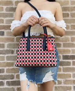 Kate Spade Eva Straw Small Top Zip Satchel Handbag Crossbody Red Blue Multi