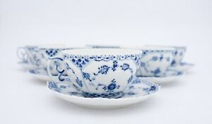 6 Large Jumbo Cups & Saucers #1142 - Blue Fluted - Royal Copenhagen - Full Lace