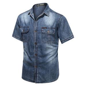 New Mens Denim Shirts Washed Pockets Vintage Short Sleeves Jeans Shirts Cotton