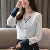 New Autumn Women Long Sleeve Office Work Business Career White Shirt Blouse Tops