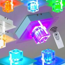 Gioco Luce Parete Muro Cubo LED RGB Metallo Vetro Blu Verde Giallo Viola Rosso