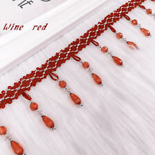 Hot 1m Curtain Sewing Crystal Bead Tassel Fringe Trim Tassel Lace Accessory Red