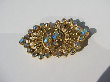VINTAGE VICTORIAN PATTERN GOLD GILT METAL AB RHINESTONE CLASP HOOK BUTTON BACK