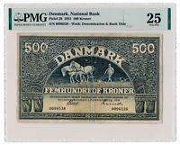 DENMARK banknote 500 Kroner 1931 PMG VF 25 Very Fine grade