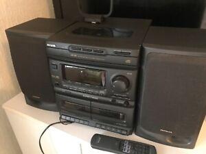 Black Aiwa HiFi system. Model NSX-340. Radio, Tape and CD functionality.