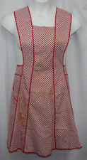 Vtg Full Bib Apron 1940s 1950s Tie in Back Hostess Retro Pocket Red Whie Geomet