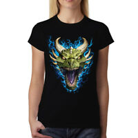 Green Dragon Face Flames Women T-shirt S-3XL