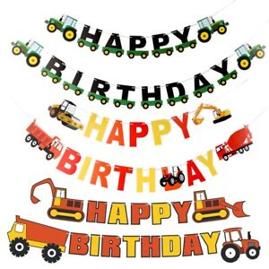 Construction Happy Birthday Banner Diggers Tractors Party Decorations Banners