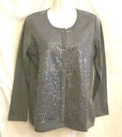 NEW WOMEN'S QUACKER FACTORY GRAY EMBELLISHED LONG SLEEVE LAYERED TOP SIZE XS
