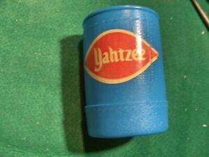 Vintage Yahtzee blue Plastic Dice Shaker Cup