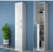 "1.9m Tall Bathroom Cabinet White High Gloss Storage Furniture Unit Cupboard 74"""