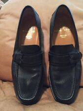 Bruno Magli Gregory Italian Black Leather Loafers Men's Size 9.5 With Buckle