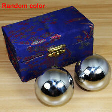 38mm Sliver Chinese Health Exercise Stress Relaxation Therapy Baoding Balls +Box