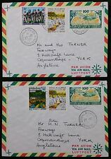 Pair Cameroun Cameroon 1977 Air Mail Covers  From Douala-Akiwa to Copmanthorpe