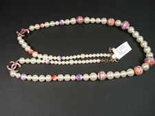Chanel Pearl Pink Enamel CC Double Strand Opera Long Necklace Belt Bracelet NEW