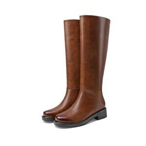 Women Western Low Heel Round Toe Biker Casual Mid Calf Knee High Riding Boots L