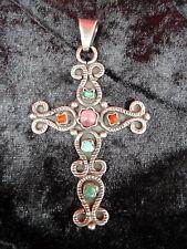 edler ,alter Anhänger__Kreuz__925 Silber__mit  farbigen Steinen__7cm__Mexiko
