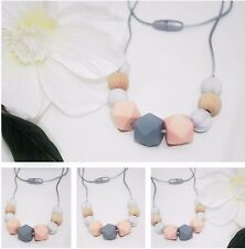 Necklace for mum (was teething)Apricot wood Grey Baby Tapuu Silicone jewellery