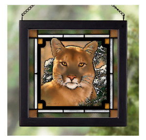 Caught by the Light-Cougar Stained Glass Art by Lee Kromschroeder
