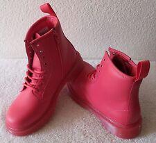 NEW Dr Martens Delaney Girls 8-Eye Combat Boots 2 Neon Pink MSRP$75