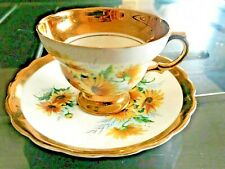 Vintage Rosina Fine Bone China Tea Cup and Saucer Sunflower w/Heavy Gold Trim En