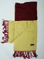 VINTAGE 1960'S TOOTAL SCARF RED PAISLEY WITH YELLOW PLAIN SIDE TASSELS TOOA312