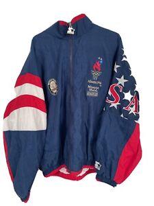 VINTAGE TEAM USA 1996 OLYMPIC JACKET WINDBREAKER ATLANTA 90s ADULT Starter XL