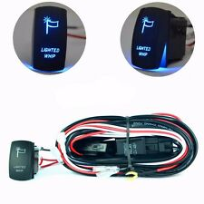 Universal Wiring Harness Blue Lighted Whip Laser Rocker Switch On-Off for all