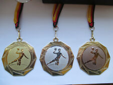 Handball Pokal Kids Medaillen 70mm 3er Set mit Deutschland-Band Turnier Emblem