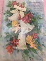 Vintage Christmas Card Sugared Glitter Large Cherub Angel Babies Velvet Bow Bell