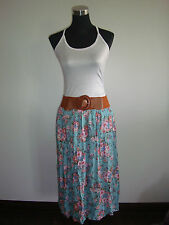 blue green pink floral skirt white top korea imported two piece dress