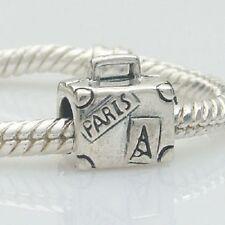 Suitcase Paris Travel Solid 925 Sterling Silver Charm Bead Fit European Bracelet
