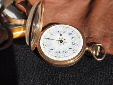 Elgin 14k Gold Lady's Pocket Watch with Delicately Decorated Floral Dial