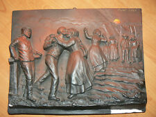 ancien plaque platre sculpté pont aven retour peche breton bretonne signé juliol