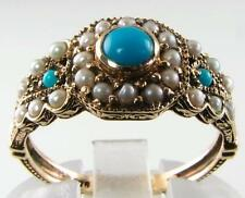 DIVINE 9K 9CT GOLD TURQUOISE & PEARL 27 STONE ART DECO INS RING FREE RESIZE