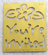 LASTING IMPRESSIONS You're Invited Brass Stencil NEW Template Airbush Emboss B88