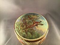 VINTAGE THORNE'S TOFFEE METAL ROUND TIN BOX HUNTING PHEASANTS LEEDS, ENGLAND