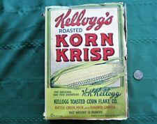 "Early cereal box ""Kellogg's ROASTED KORN KRISP"" Battle Creek. Mich. & Toronto"