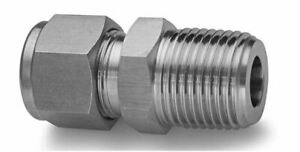 """3/8"""" OD Tube x 1/4"""" MNPT Tube Fitting 316ss Male Connector SSP  ISSD6MC4"""