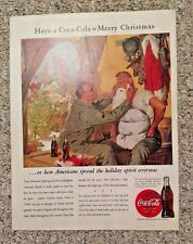 Vintage Magazine Ad COCA-COLA 1943 WW2 Army Soldier playing Santa Claus