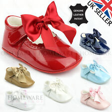 Zapatos arco español Cochecito de Niño Bebé Niña Charol Rosa Blanco Del Cielo Azul Marino Camel Marfil